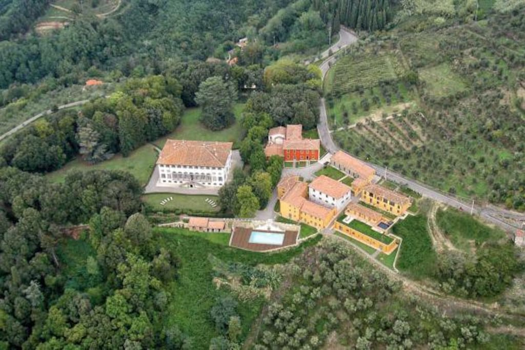 Villa Guinigi private historic estate outside Lucca overlooking spectacular vineyards and olive groves,