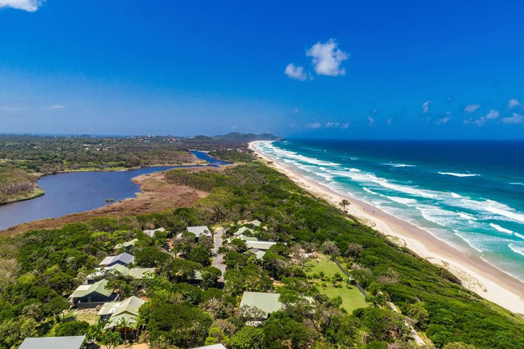 Our beautiful property looking north to Cape Byron Lighthouse and Byron CBD