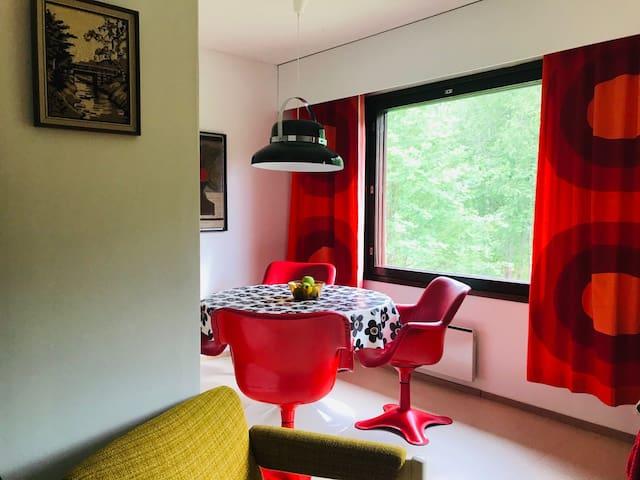 Retro-inspired apartment with sauna and backyard