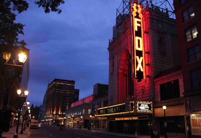 Fox theatre is a quick 2 minute walk, a few blocks up.