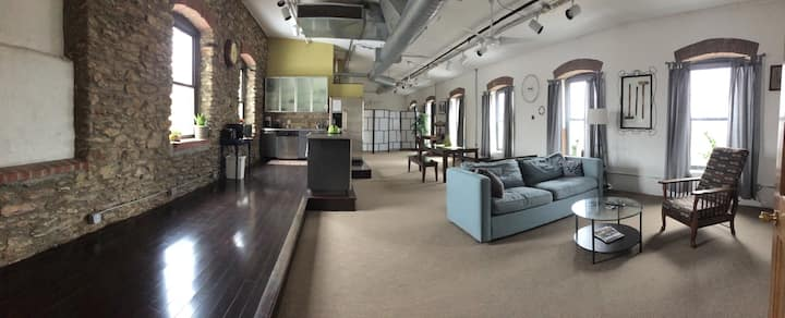 Beautiful loft space in renovated textile mill.