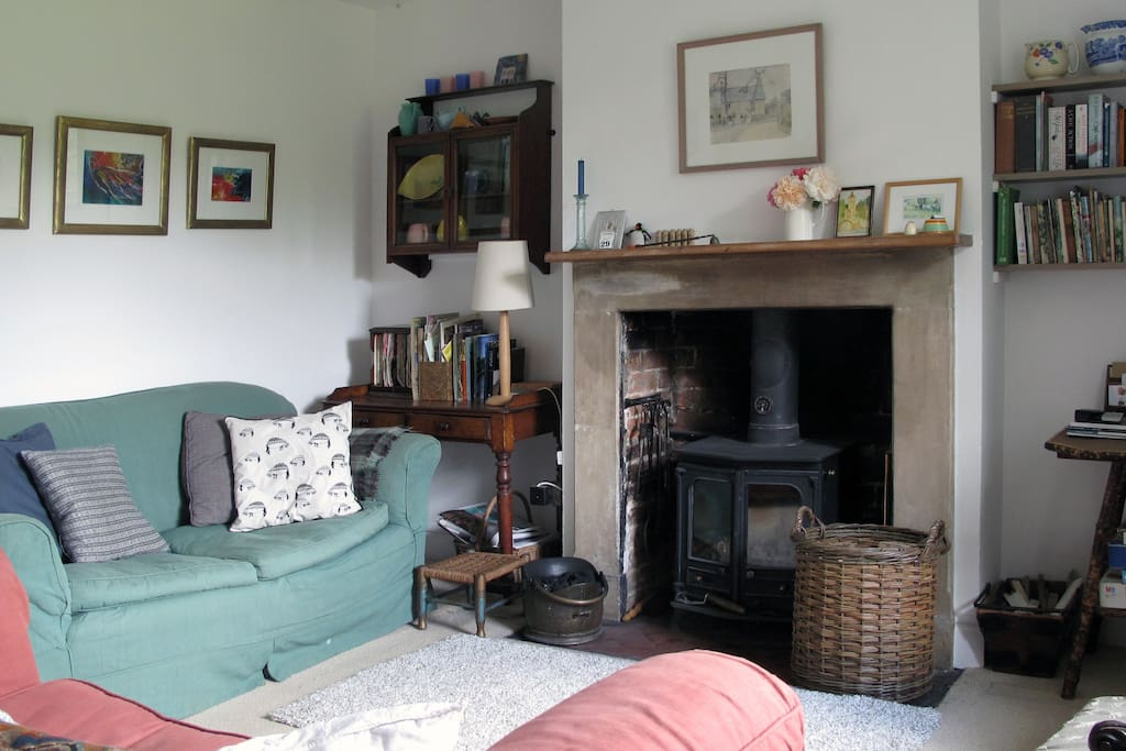 cosy sitting room with woodburning stove