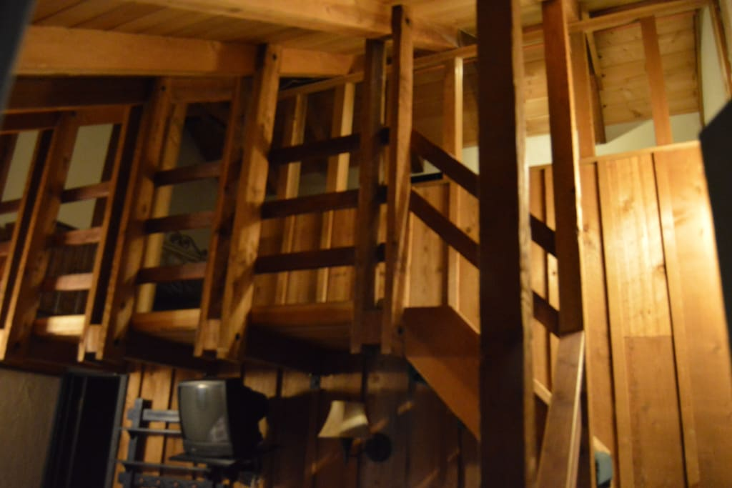 some rooms have a ladder up to the loft and some rooms have a steep stairway