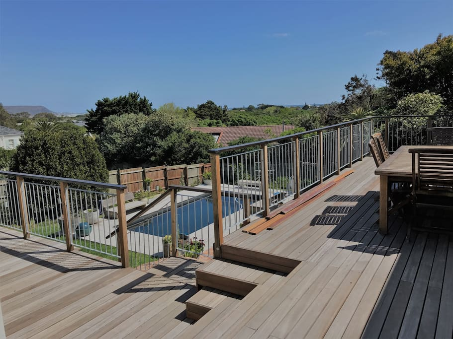 Entertainment deck with a view towards the sea and Kommetjie in the background