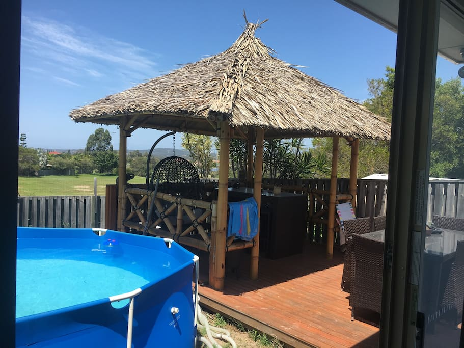 Large entertaining area next to  filtered pool! Perfect for afternoon drinks
