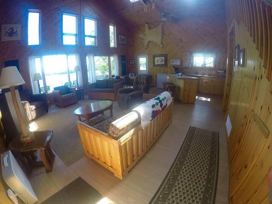 Front door entrance into cabin. Open floor concept.