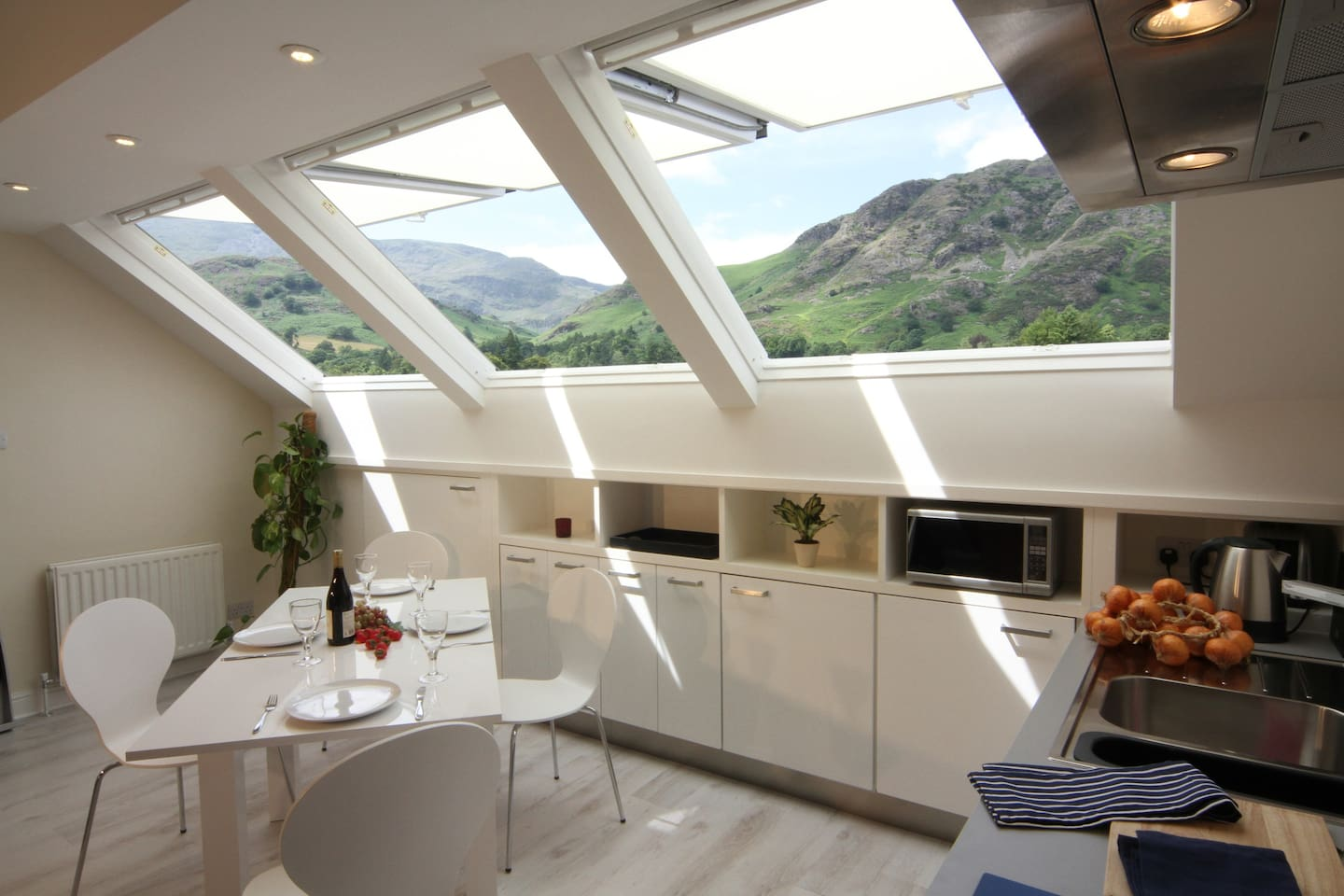 Views of the Coniston Fells from open plan living area