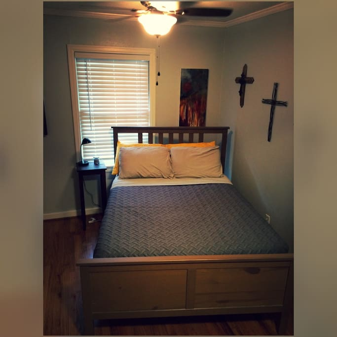 Queen size bed. Room can close off with pocket doors.