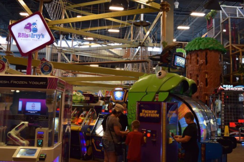 huge arcade, ropes course, playground, bowling, laser maze, glow in the dark mini golf, and much more.