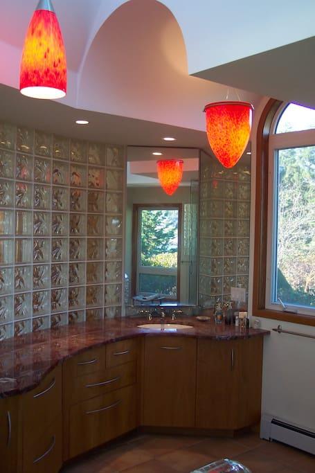 Master Suite Bath - Venetian Lights, Glass Block, OceanViews, Slab Pink Marble, Walk in Shower