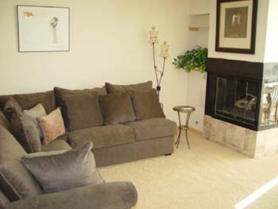 super large living room with 2 pull out sofa sleepers and gas fireplace