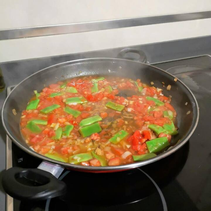 Then, heat up  the tomatoes  & other veg