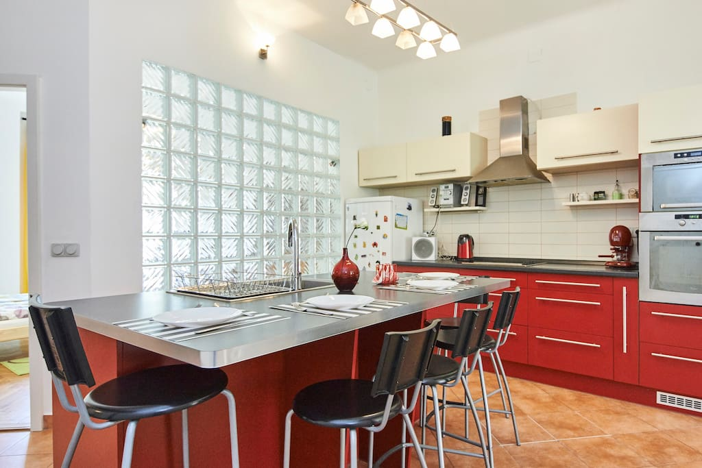 The kitchen and the dining-table