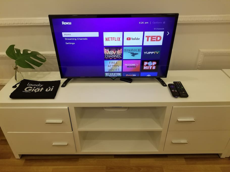 Free Netflix, YouTube streaming service anytime on your bed! (We bring this machine ROKU from Canada:) )