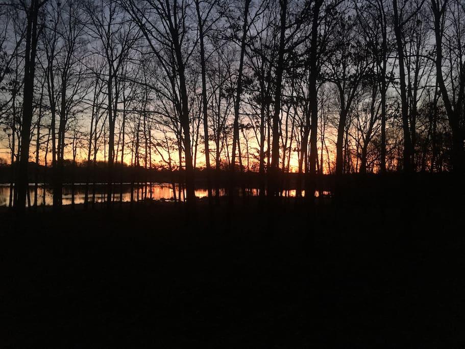 A beautiful sunrise over the private lake