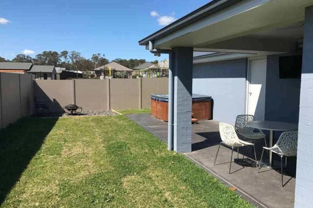 Bit of yard, outdoor sitting area, fire pit and spa. Use of these are negotiable.