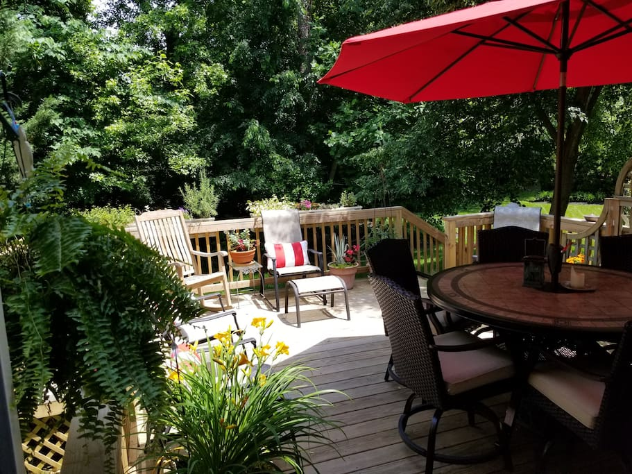 A large, sunny deck.