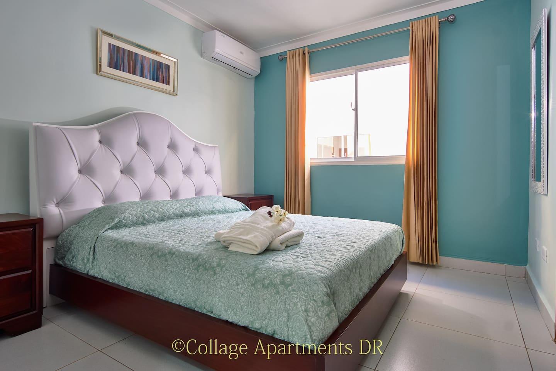 Master Bedroom with 12,000BTU ductless A/C and ensuite bathroom./ Cuarto principal con Aire Acondicionado y bano privado