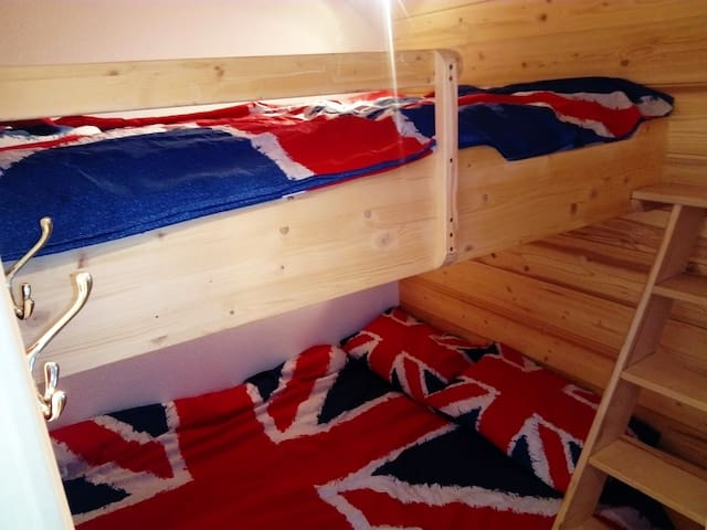 2 Double sized bunk beds.  Very comfortable cosy warm Hypnia memory foam mattresses.