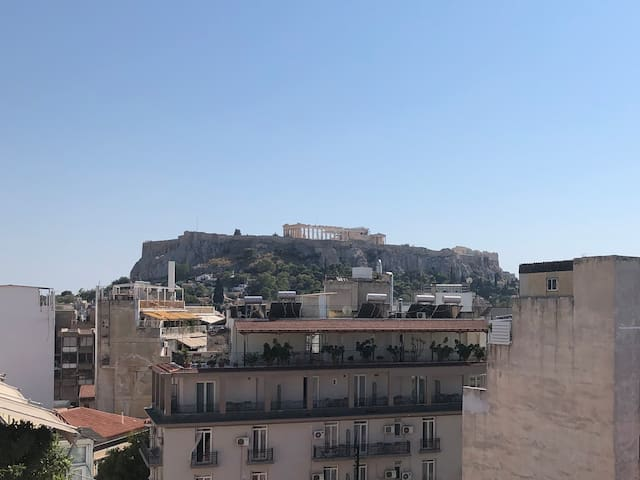The view of the Acropolis from our building's roof terrace, just to show the distance (as the roof is not accessible). The Parthenon is only 500 meters away!