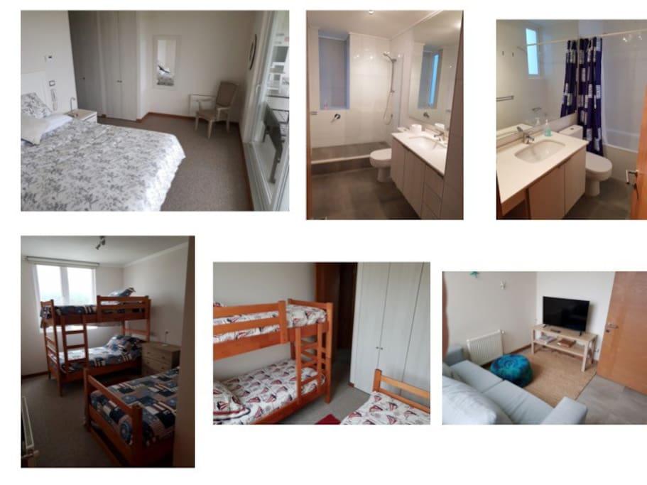dormitorio en suite , 2 dormitorios 3 camas cada uno mas banio.