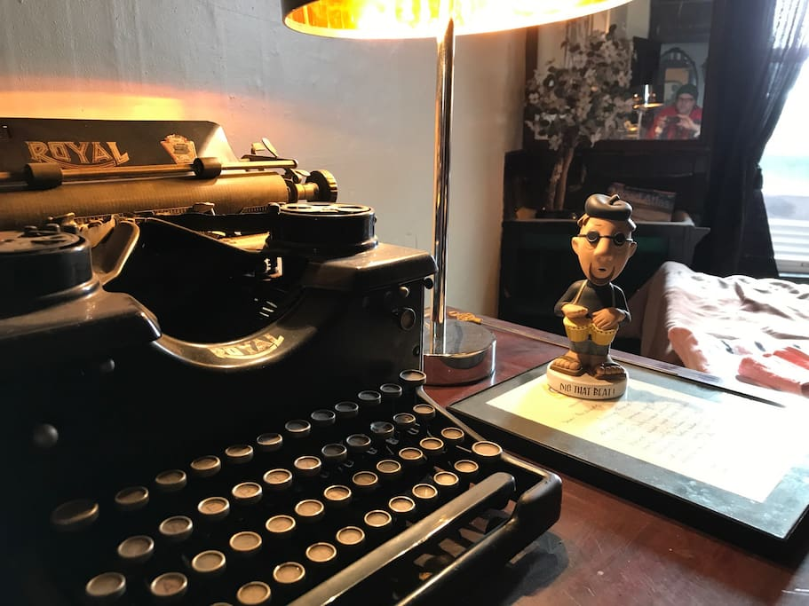 Your suite is filled with genuine Beat Generation antiques, collectibles, and autographed letters to set the mood, Daddy-O...