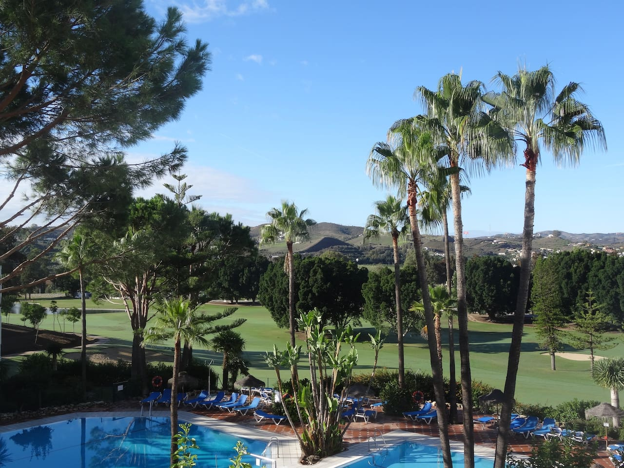 Fantastic view overlooking the pools and golf course
