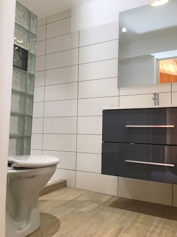 Salle d'eau au goût du jour, douche à l'italienne, meuble casque 2 tiroirs et wc.