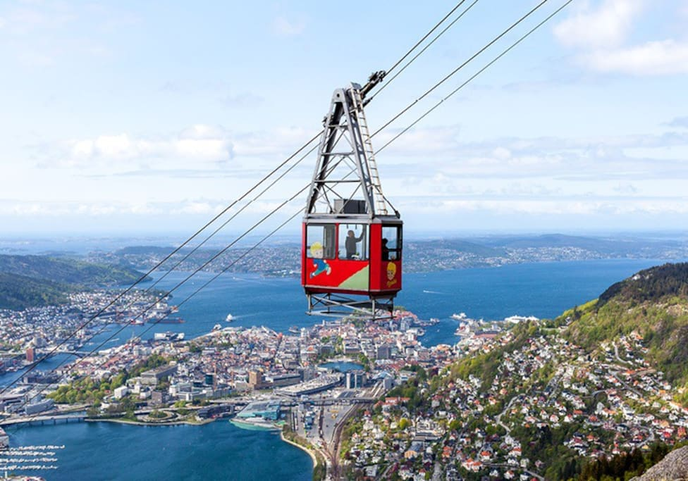 The cable car to Ulriken, the highest peak in Bergen, is only a few minutes away.