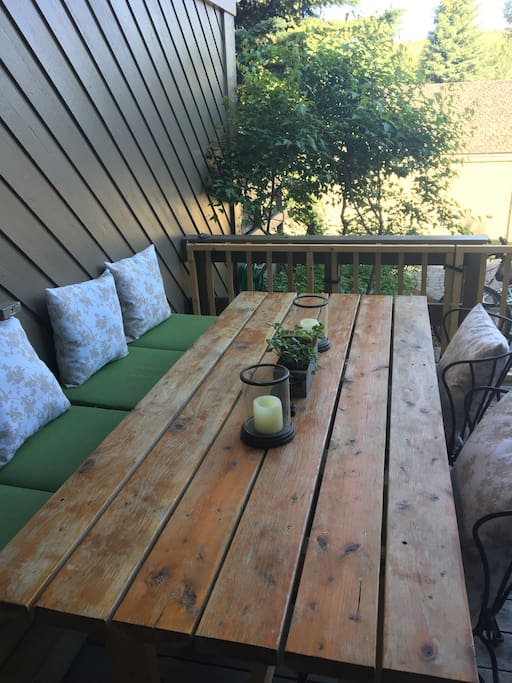 Outdoor deck dining area.