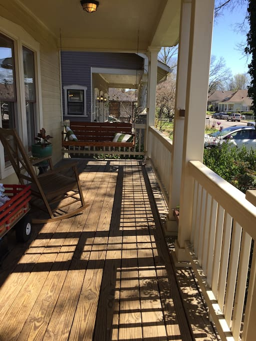 Front porch with swing and rocking chair