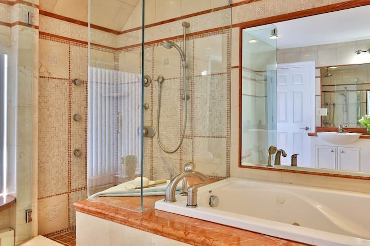 The full bathroom is for your exclusive use. Shower, jetted tab, dual sinks