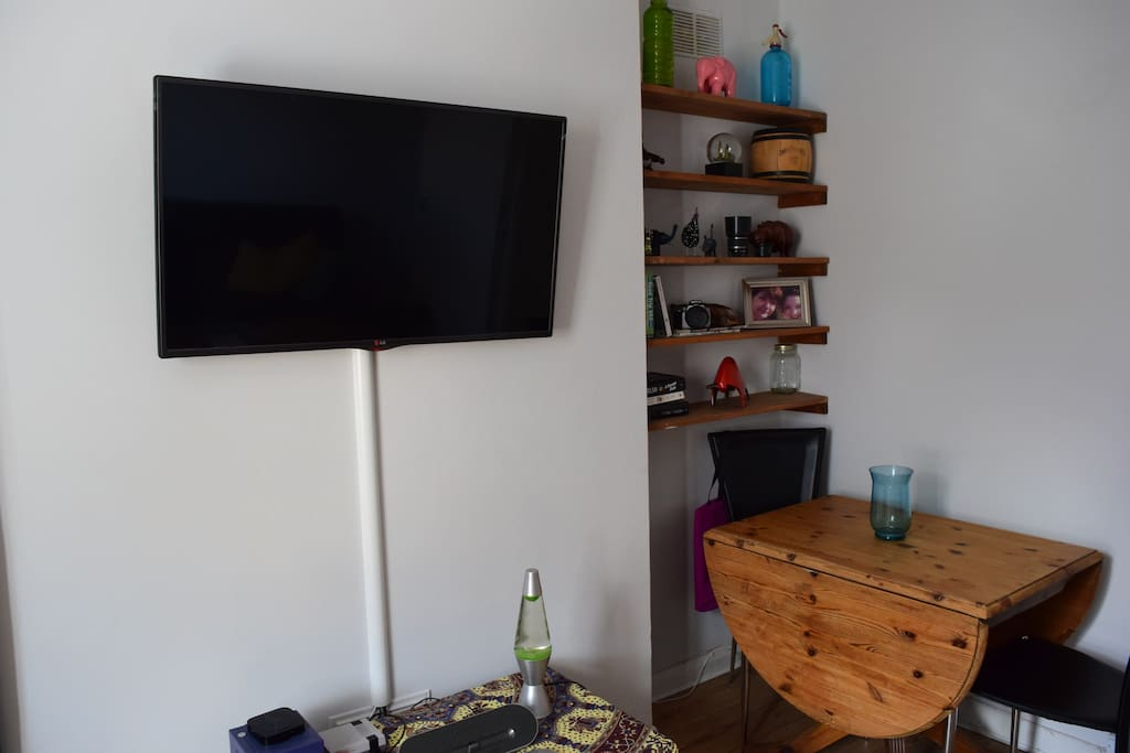 Large TV and dining area