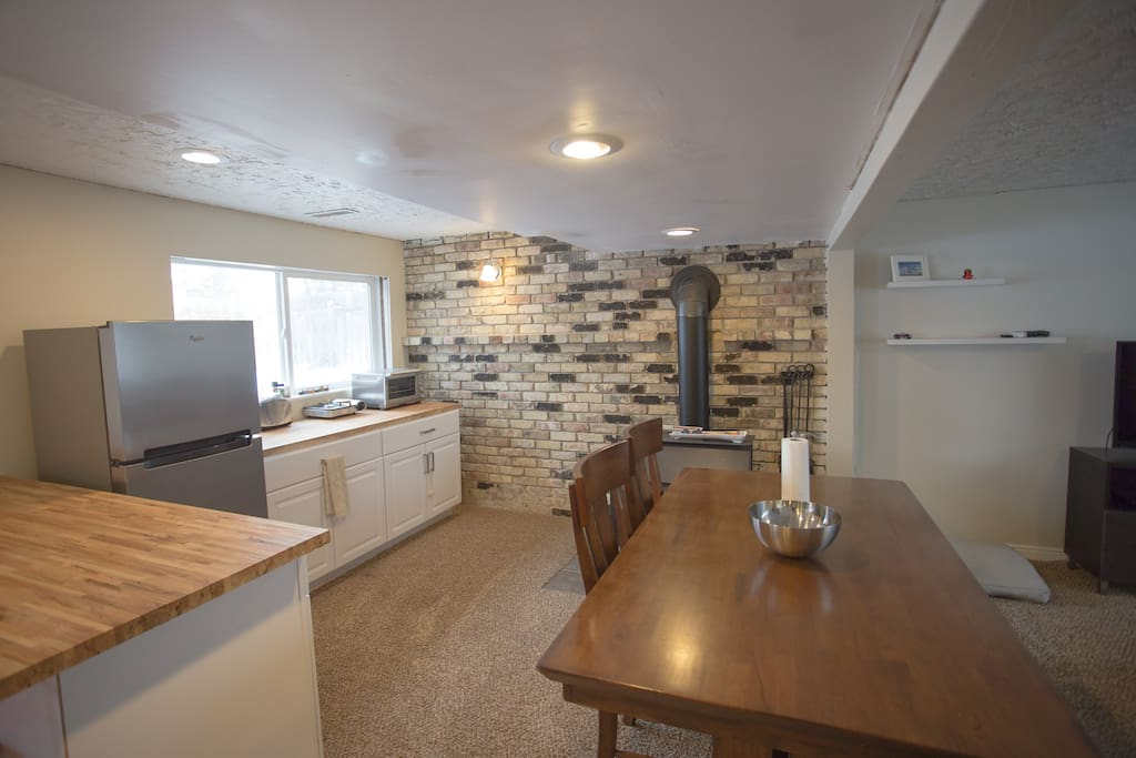 """""""Dry"""" kitchen area — sink in shared laundry room"""