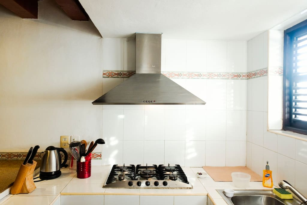 En apartamento Aguirre 1 contamos con una cocina equipada y lista para que comiences a cocinar desde tu llegada. (estufa de 5 quemadores, campana, tarja con doble tina, refrigerador y horno independiente)