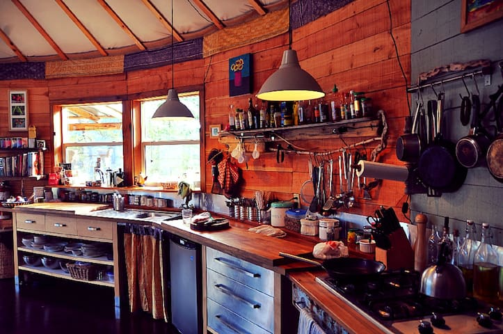 Fully equipped and well stocked kitchen in the main yurt