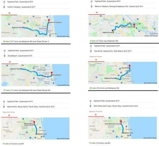 Maps showing the distance to popular local attractions.