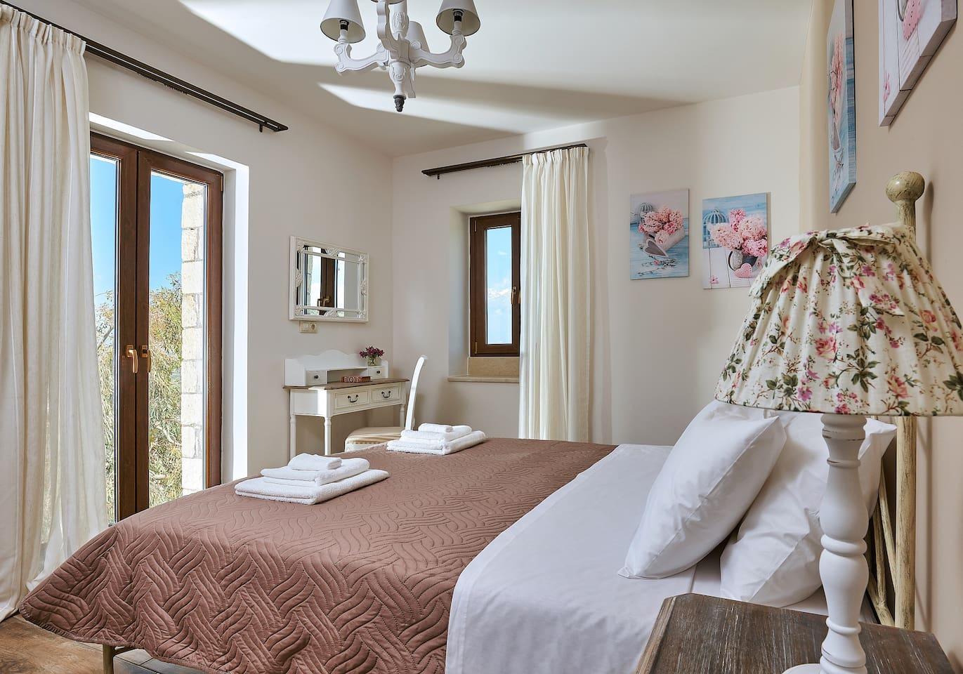 Orelia Cretan Villas - Romantic Stone Villa 1-The Bedroom with double bed