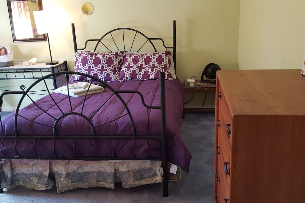 Comfortable double bed with fresh bedding and towels.  Hair dryer and lots of closet space.