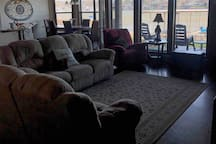 living room looking out to lake