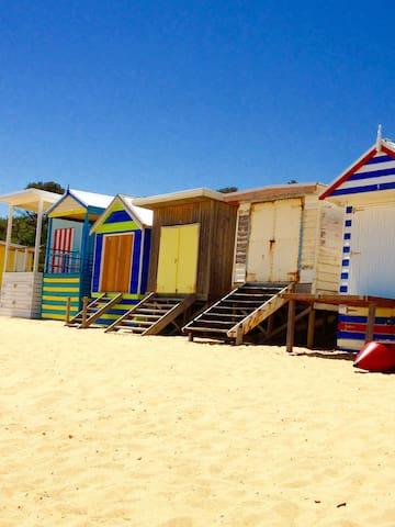 Beach Boxes on Mount Martha Beach.