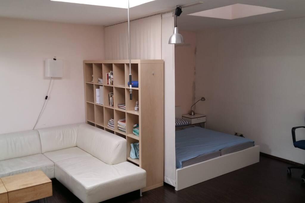 Das Doppelbett im Studio