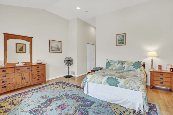 The bedroom is totally private, separated from the rest of your third floor suite by a small hallway, and includes a new Queen-sized Nectar premium memory foam mattress.