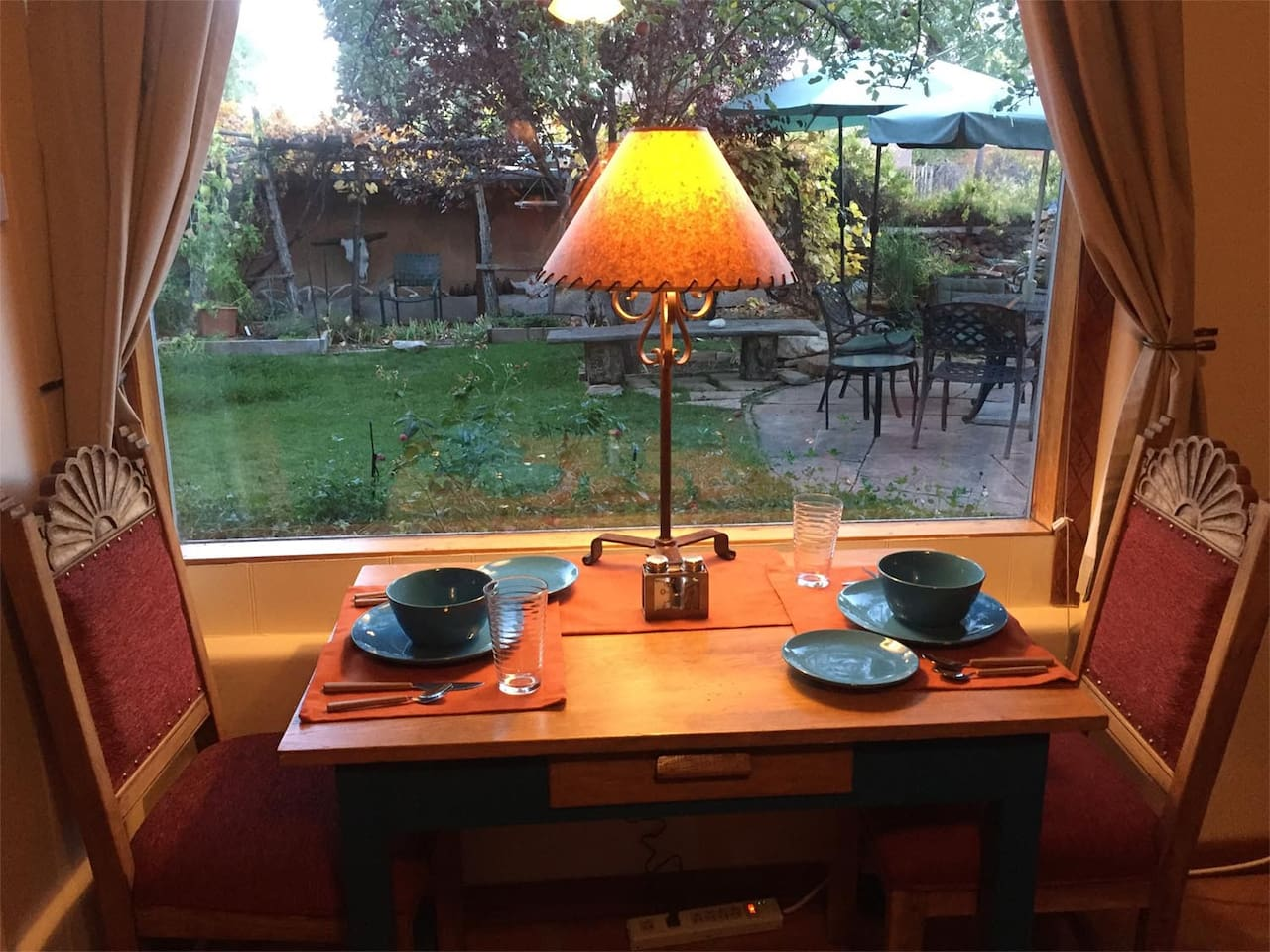 Dining with a view of the garden.