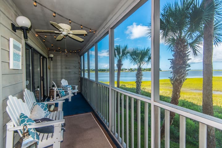 Sunsetter! Walk to Beach, Water View, Pool, Gated!