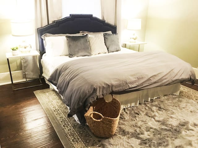 luxurious bedding in master