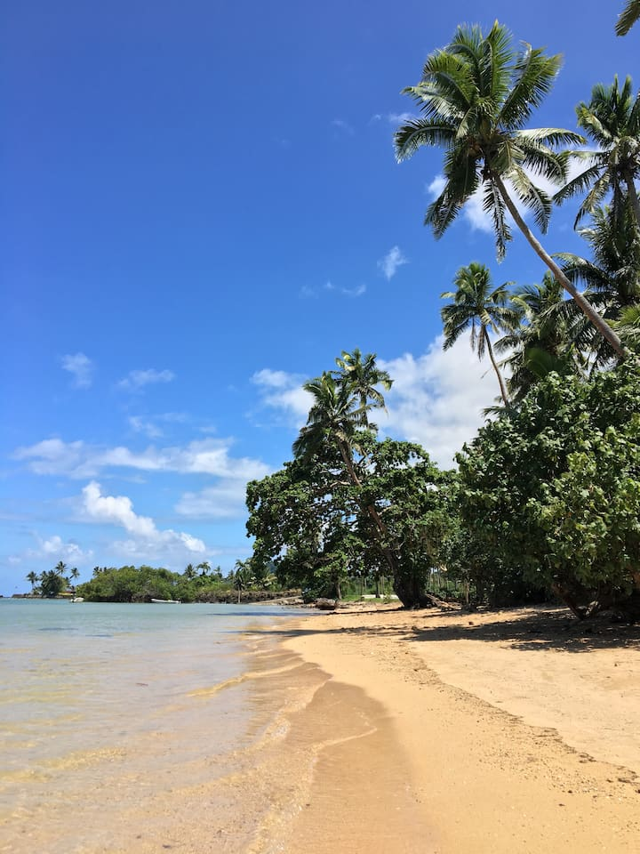 This gorgeous white sand beach is just steps away from your door!