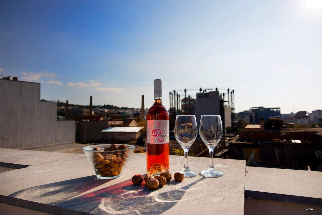 Drink a bottle of wine to the beautiful terrace