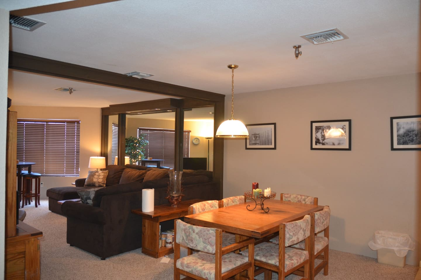 Living Room and Dining Area.  The window overlooks Goosebumps slope and Avalanche trail.