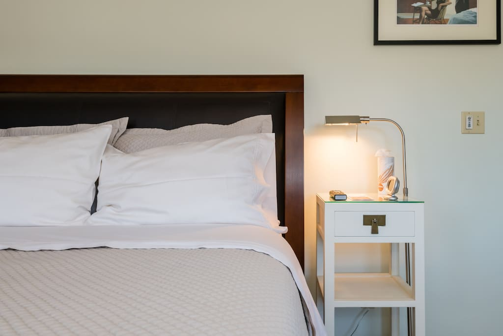 The bedroom has good lighting from the windows, overhead and bed side lamps. There is a power strip for recharging devices on the dresser so you can easily plug in items and keep them in view.